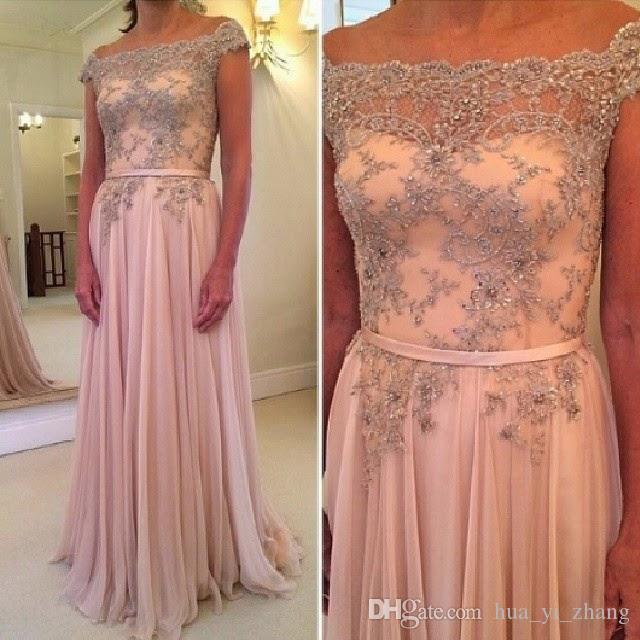 New Designer 2016 Lace Prom Dresses Crystal Sheer Cap Sleeve Chiffon Party Dress Evening Gown Full Length Dhyz 01