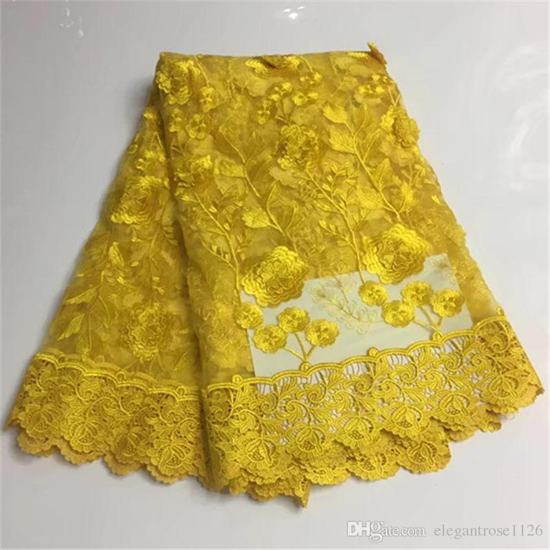 Лучшие продажи швейцарский вуаль кружева Африканский кружевной ткани золотой цвет нигерийский французский ткань 2017 высокое качество Африканский тюль кружевной ткани GYNL155