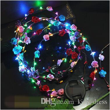 Girl's Hair Accessories New Fashion New Novelty Led Flashing Flower Headband Hair Ornament Hairband Glowing Light Floral Wreath Children Girls Toys Christmas Party Girl's Accessories