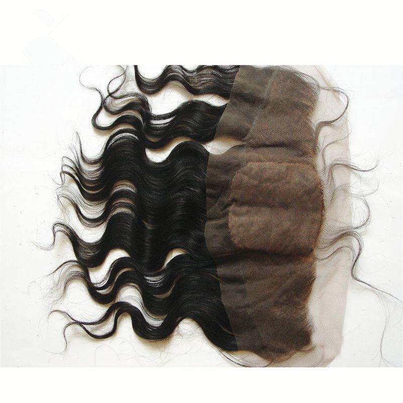 Vague de corps brésilienne 4x4 soie base dentelle frontale noeuds blanchis en soie Top oreille à l'oreille pleine dentelle Frontals 13x4 fermeture à glissière pas cher en soie
