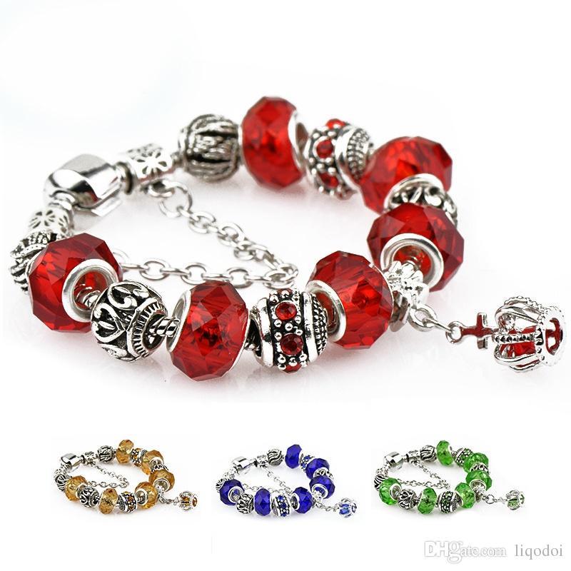 Mode Versilbert Armbänder Armreifen Kristall Murano Perlen Charme Armbänder Für Frauen DIY Vintage Handgefertigte Perlen Armbänder