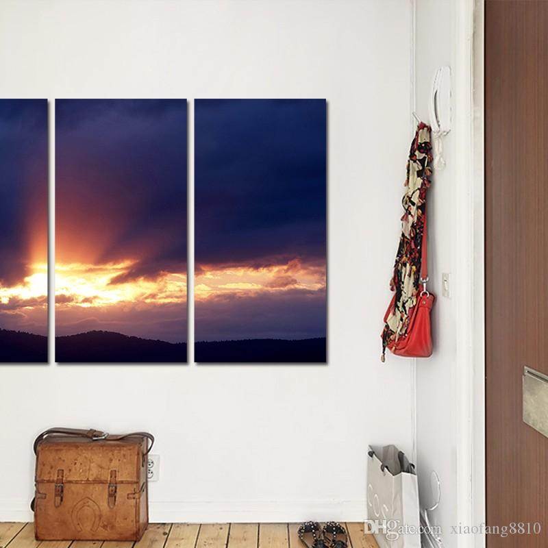 dark blue decoration sun wall art pictures sunset landscape mountains gold pink clouds Canvas Painting living room unframed