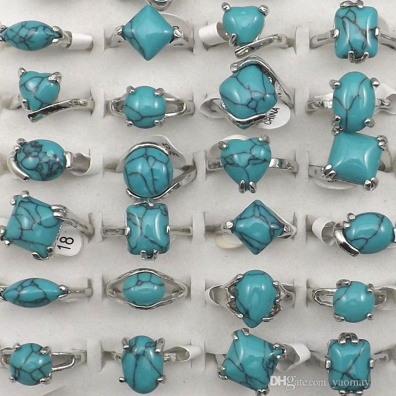 Mixed Size Natural Turquoise Rings For Women Factory Price Wholesale