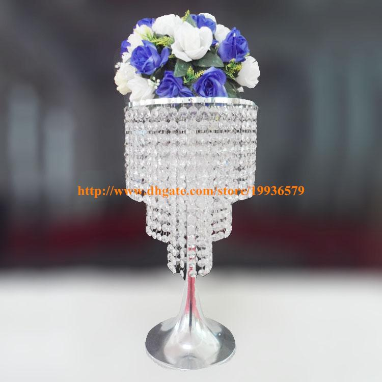 Set of 10 Round Acrylic Crystal Centerpieces Three Tier Sliver Chandelier Wholesale Wedding Table decorations