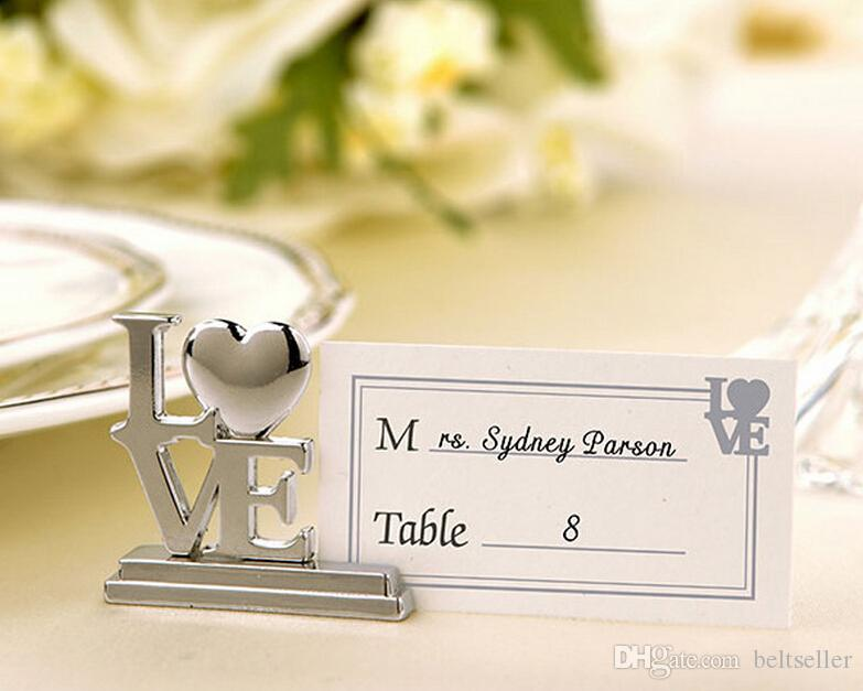 New Wedding Favors Bridal Silver Love Heart Letters Place Card