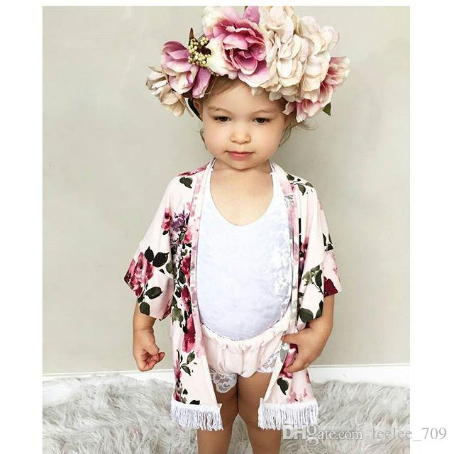 ins new autummn fashion baby girl big flower shawl outwear coat kids tassel full floral print cape