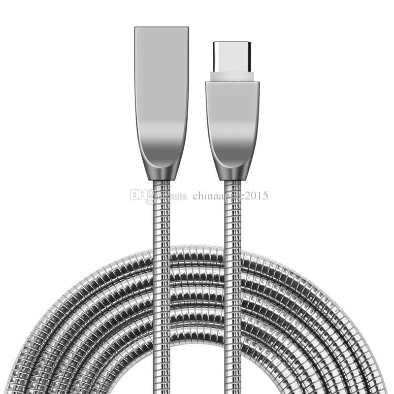 Fast Quick Charging Cable 1m 3ft Stainless Steel Type c Usb c micro 5pin usb cable for samsung s6 s7 edge htc lg android phone 6 7 8