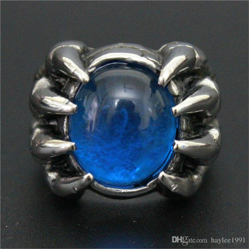 New Design Blue Color Huge Stone Ring 316L Stainless Steel Fashion jewelry Band Party Biker Dragon Claw Ring