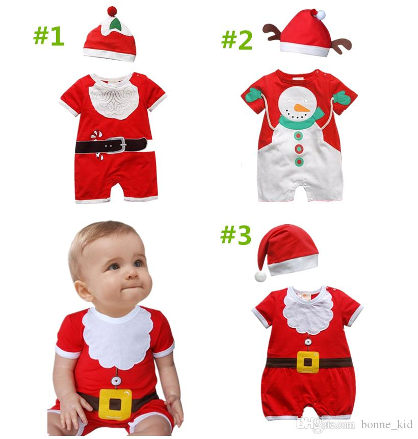 1967a5d920e8d Baby Newborn Jumpsuit Hat Kids Girls Boys Rompers Whieolsale Christmas Set  Little Santa Bodysuit Outfit Clothes XMAS Snowman Fake Beard Suit Owl Pjs  For ...
