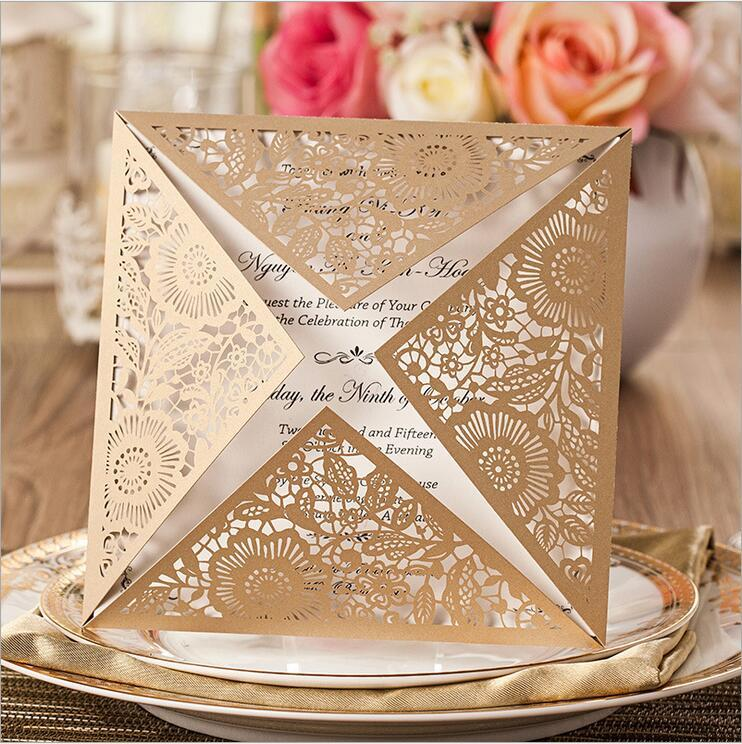 Laser Cut Wedding Invitations Gold Free Printing Wedding ...