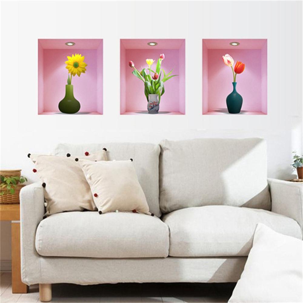 3d Romantic Decoration Vase Flower Pvc Removable Wall Stickers ...