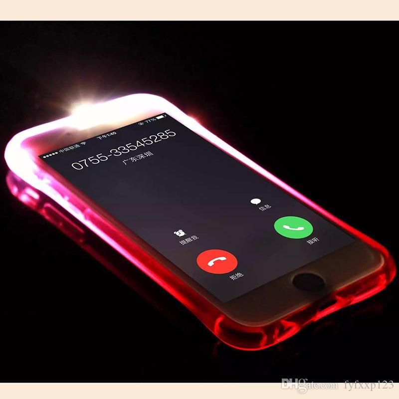 hot Calling Light Up Case For Iphone 8 x Plus Ultra Thin TPU LED Flashing Lighting Incoming Reminder Phone Cover For Samsung S7