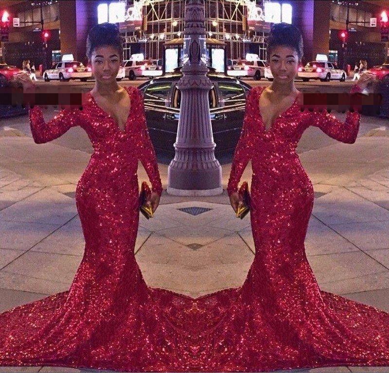 긴 소매를 가진 반짝이는 인어 공 무도 회장 복장 fishtail 섹시한 v-neck 청소 열차 반짝이는 공식적인 저녁 가운 특별한 날 드레스