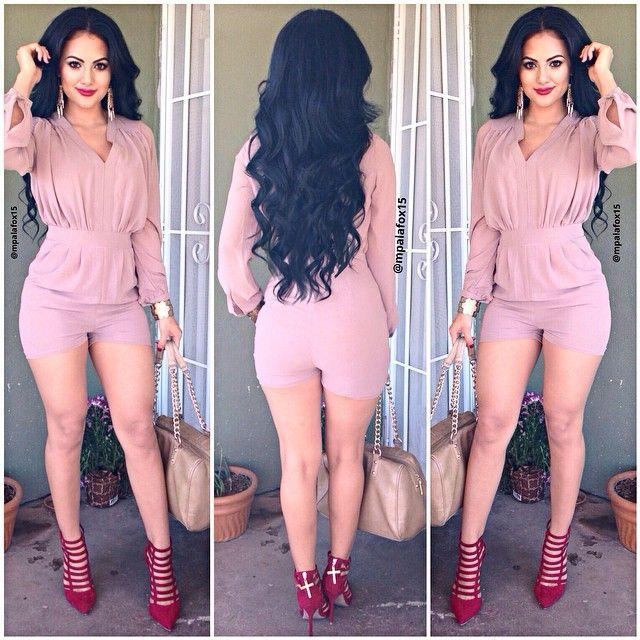 e59e1020c186 2019 Wholesale 2016 Hot Sale Long Sleeve Styles Pink Trench Short Playsuit Rompers  Jumpsuit Women Bandage Bodycon V Neck Jumpsuits From Tayler
