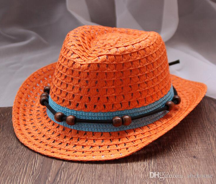 Panama Straw Hats Summer Foldable Caps for Kids Fashion Beads Stingy Brim Caps Solid Color Sun Hats