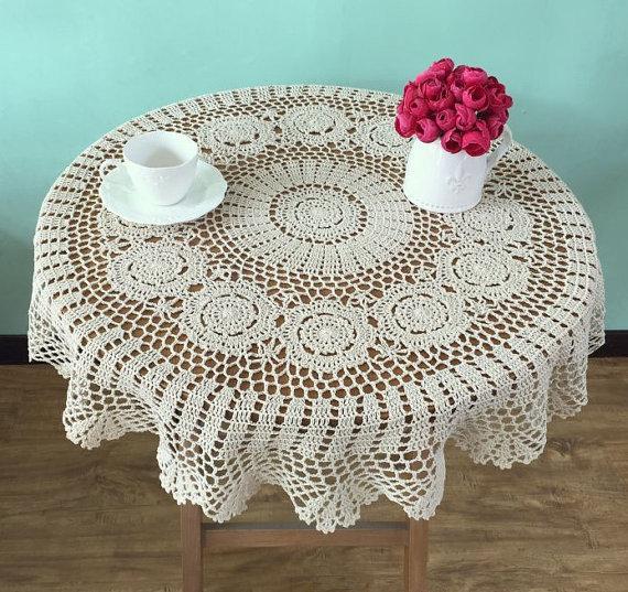 Großhandel Schöne Häkelanleitung Runde Tischdecken Handmade