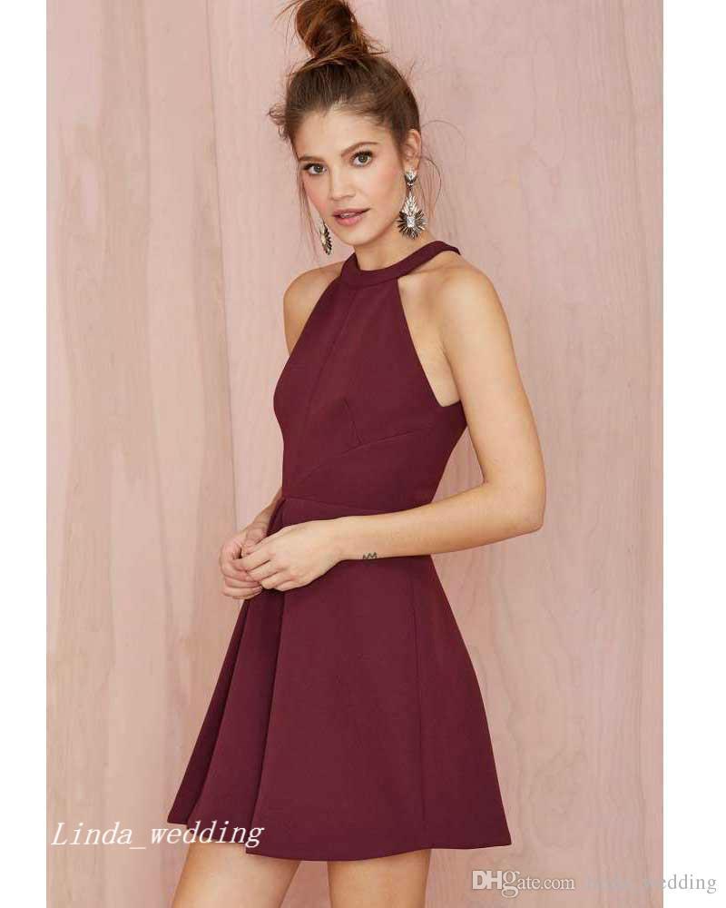 2019 Borgoña vestido de fiesta de alta calidad vino rojo corto ocasión especial vestido de fiesta vestido de graduación Homecoming vestidos de fiesta cortos