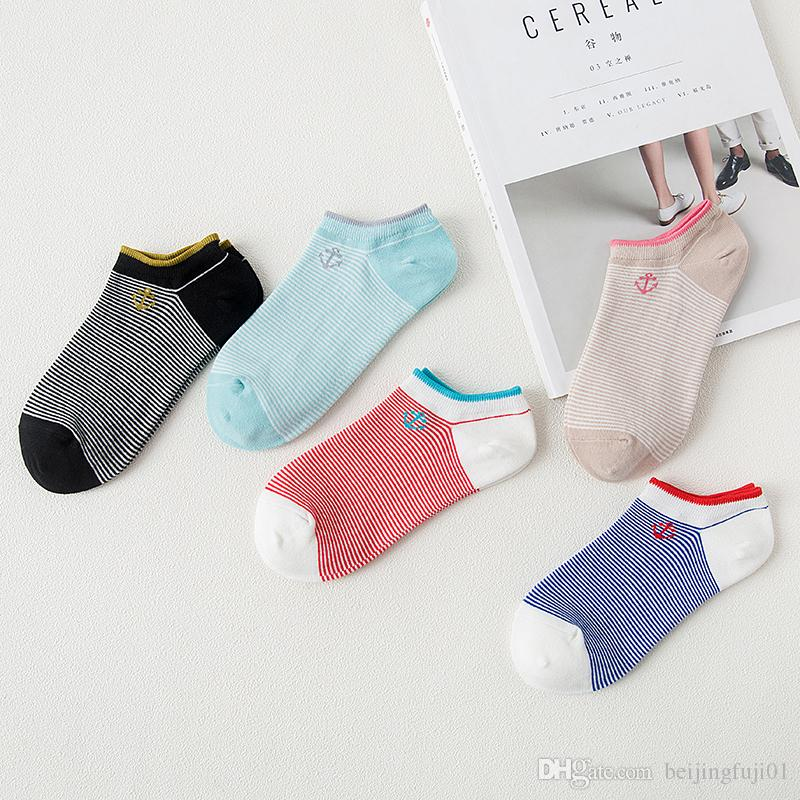 FUJI Women Socks Warm Comfortable Casual Cotton Girl Ankle Socks Shallow Mouth Invisible Striped Female Sock