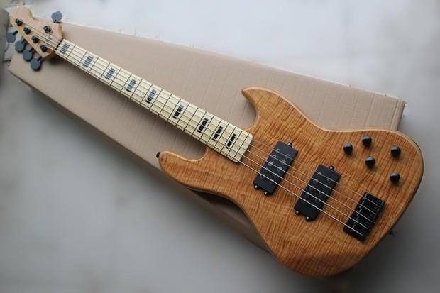 brand new 5 string electric jazz bass guitar with maple tiger veneering in nature color electric. Black Bedroom Furniture Sets. Home Design Ideas