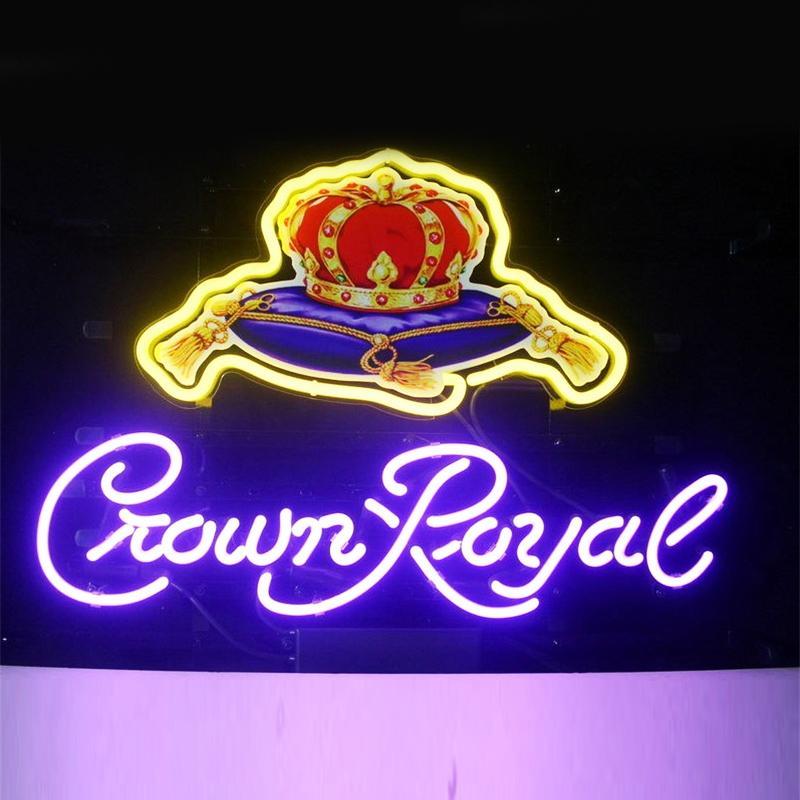 Crown Royal-shaped DIY Glass LED Neon Sign Flex Rope Light Indoor/Outdoor Decoration RGB Voltage 110V-240V 17*14 inches