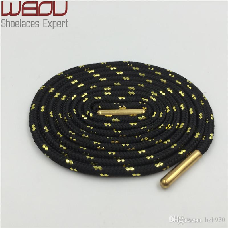 Weiou Sports boot laces metallic Shiny Gold shoelaces white black round glitter Bootlaces fun Sparkle Shoe laces Strings 120cm