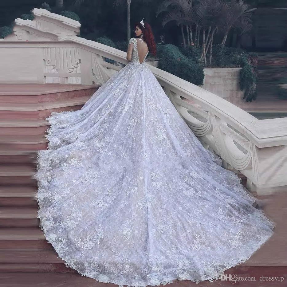 2017 New Pnina Tornai Wedding Dresses Dubai Arab Vintage Long Sleeve Bling Crystals Wedding Gowns Sequins Tulle Court Train Bridal Dress