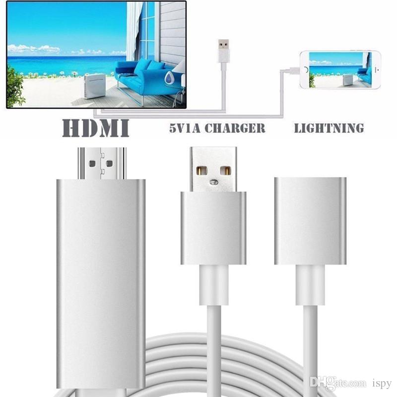 Aluminium MHL HDMI Kabel Plug and Play 2M 3 in 1 HD 1080P AirPlay Spiegelung HDTV Adapter für iPhone 7/7 Plus 6/6 plus Samsung S7 / S6