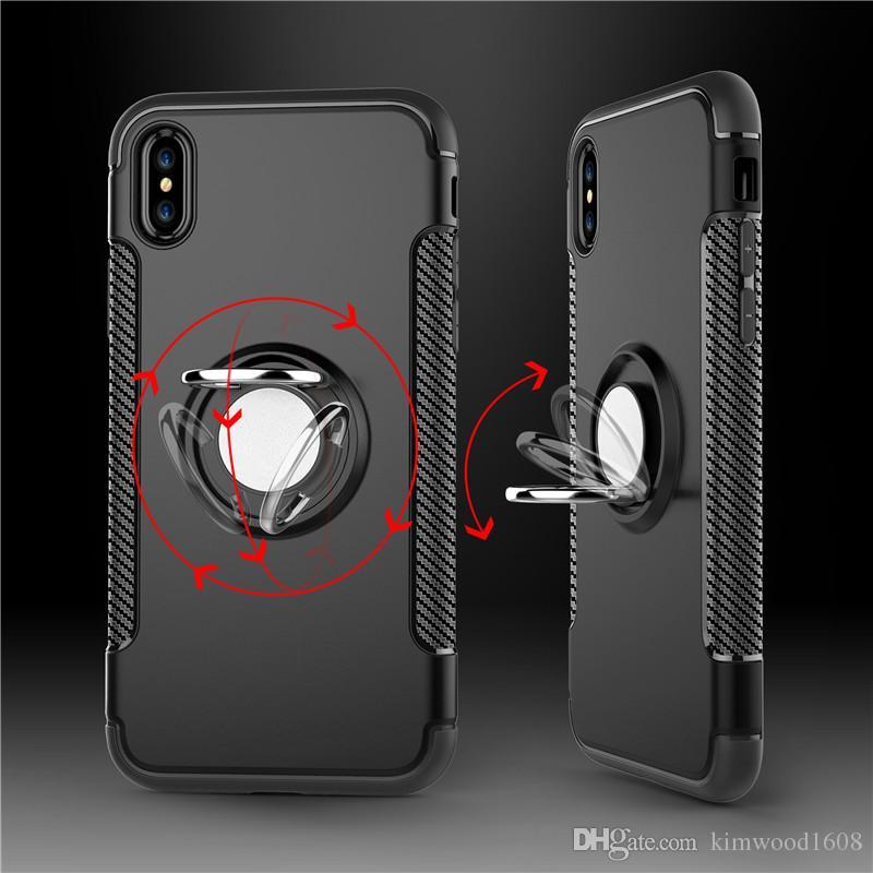 Hybrid TPU + PC 2-en-1 cas d'armure étanches aux chocs 360 support d'anneau magnétique couvercle arrière pour iPhone X Samsung S8 Plus S7
