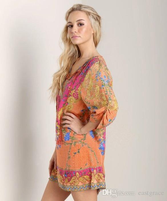 Vestidos de verão moda broque totem fita de impressão longo-sleeved curto chiffon vestidos casuais para as mulheres 2016 designer dress venda quente