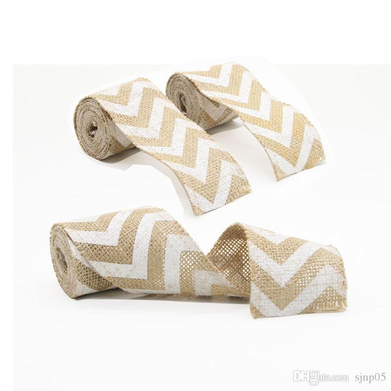Natural Linen White Wired Chevron Printed Burlap Ribbon 2Mx6.2cm Vintage Wedding Gift Wrap Bow Party Decoration Chair Band DIY Christmas