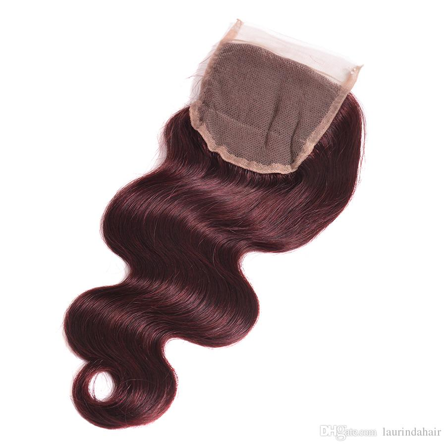10a Peruvian Brazilian Burgundy Virgin Hair With Lace Closure With Bundles Color 99J Wine Red Body Wave Hair Weaves