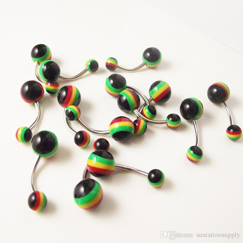 100 Piece Stainless Steel Rainbow Belly Rings Navel Button Ring Bars Fashion Uv Body Piercing Jewelry Acrylic Sexy