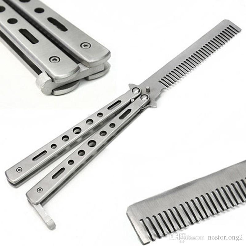 hot sale Silver Practice Butterfly Knife Trainer Training Folding Knife Dull Tool Outdoor Camping Knife Comb