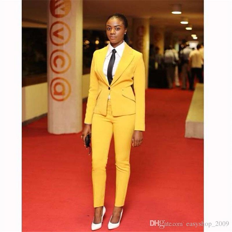 4051cdf10 Compre Chaqueta + Pantalones Amarillo Mujer Trajes De Negocios Blazer Mujer  Uniforme De Oficina Traje De 2 Piezas Señoras Invierno Trajes Formales Un  Botón ...