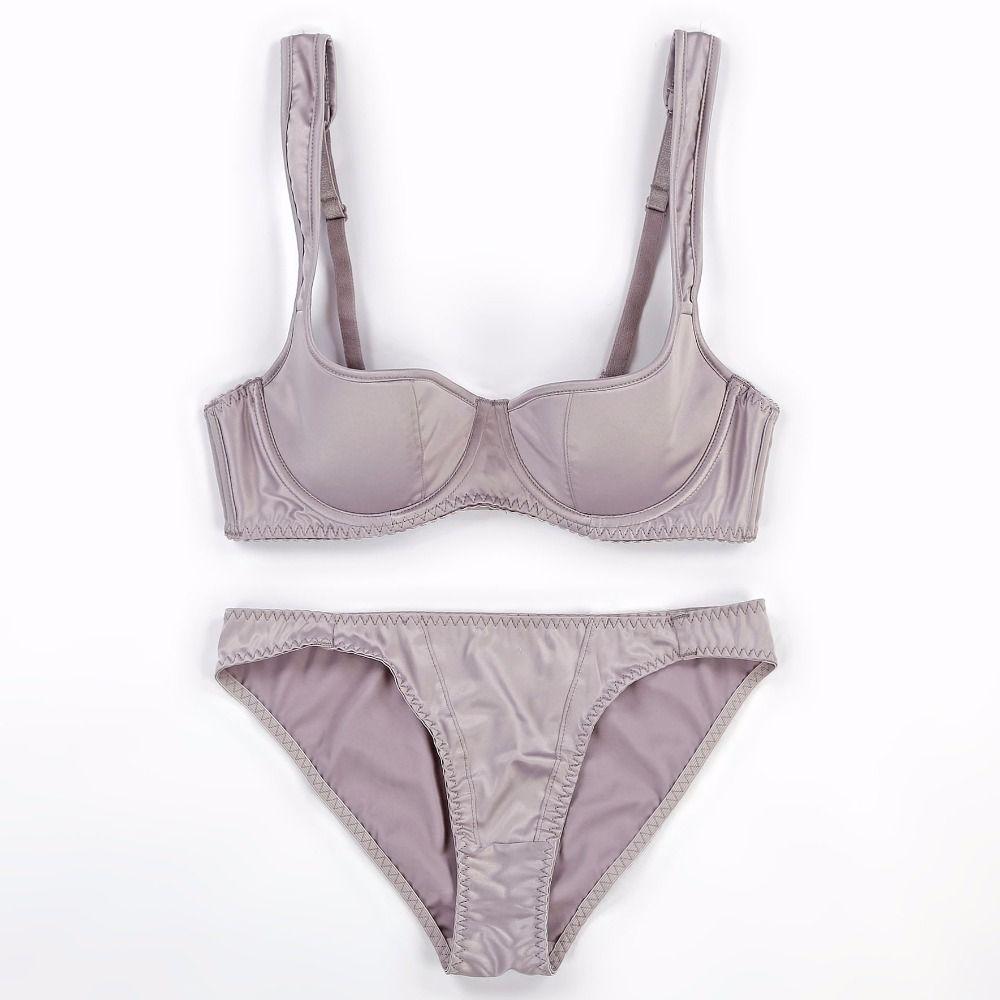 ad3c21c74abbc Satin Smooth Women Sexy Bra Brief Set 1 2 Cup Thin Cotton Cup ...