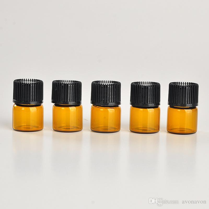 Botella de cristal ámbar ambarina del perfume del envío 1ML libre, frasco de la muestra del ámbar 1CC, precio de fábrica pequeño de la botella del aceite esencial N708