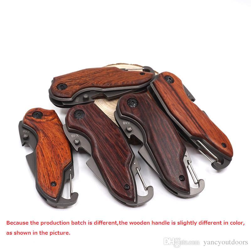 Coltello da tasca tascabile X48 Coltello da campeggio in acciaio 440 da campeggio mini coltelli da caccia pieghevoli di sopravvivenza portatili con manico in palissandro