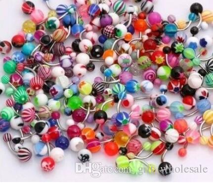 Langue et anneau de ventre barre / mix couleur uv acrylique corps piercing bijoux langue anneau d'haltères