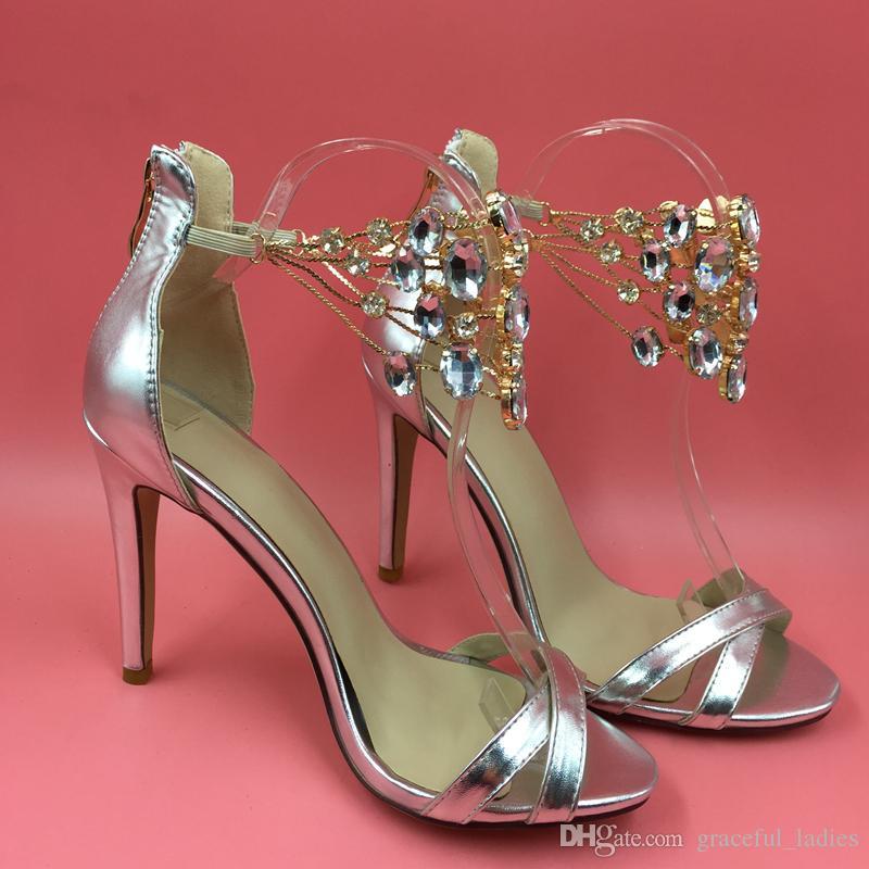 صور حقيقية أزياء المرأة الصنادل بلورات النساء أحذية عالية الكعب رقيقة الخناجر تو فتح صنادل أحذية الزفاف العودة زيبر الشريط الكاحل