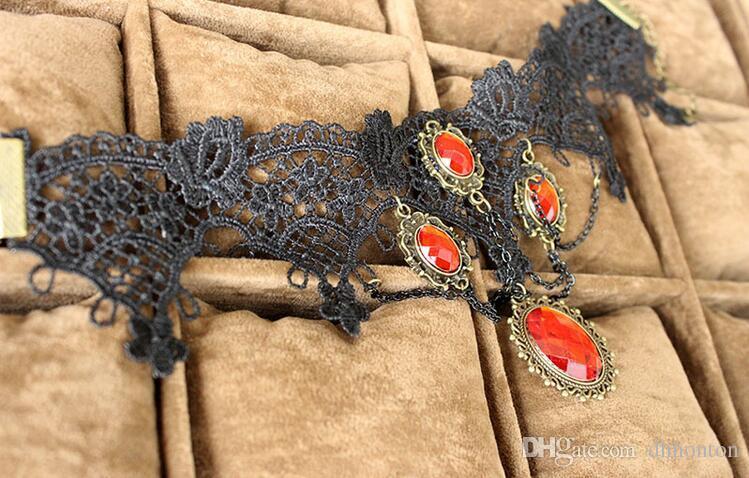 Dentelle colliers pendentifs colliers dentelle vintage luxe gothique mariage mariée mariée accessoires collier bijoux dentelle collier FJ16