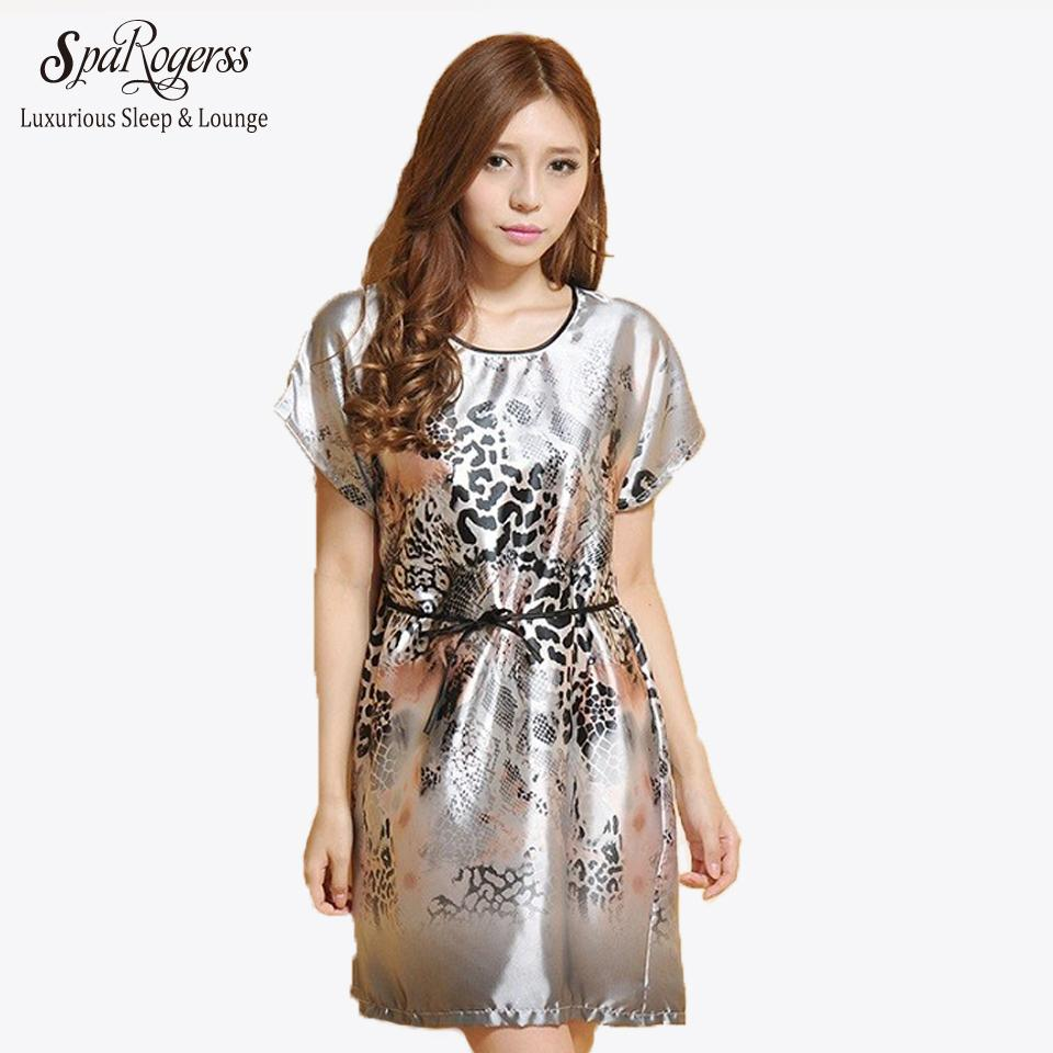 f0d52b345d 2019 Wholesale SpaRogerss Women Sleep Lounge Summer 2017 Leopard Print  Ladies Dressing Gown Print Casual Sleepshirts Nightgown For Woman 10028  From Roberr