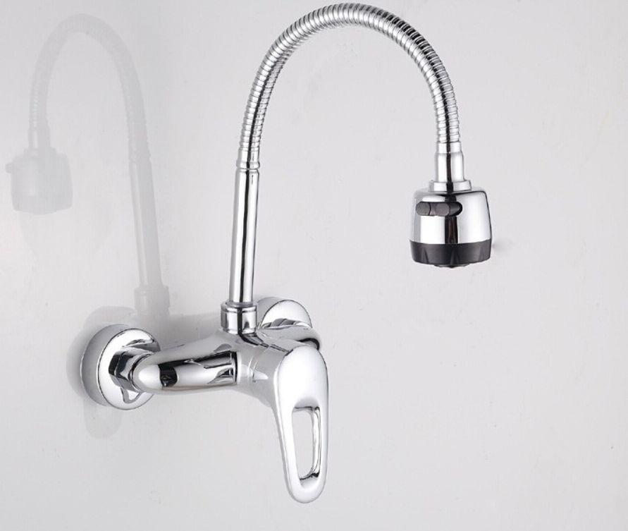 Brass Bathroom Kitchen Faucet Swivel Spout Hot Cold Basin Sink Spray ...