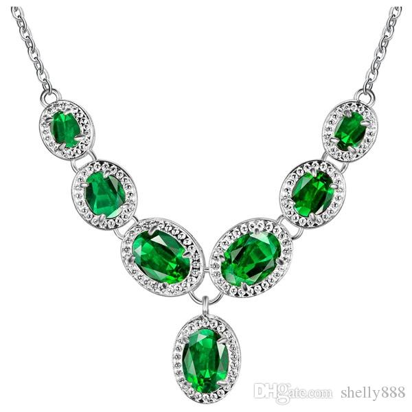 925 sterling silver jewelry diamond jewelry sets Green Sky blue colour Bracelet Earrings Necklace factory wholesale best price
