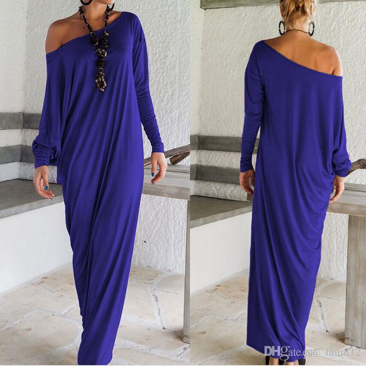 중동 긴 Kaftan 드레스 2016 뜨거운 판매 긴 소매 한 어깨 우아한 아랍어 저녁 파티 드레스 층 길이 매장에서