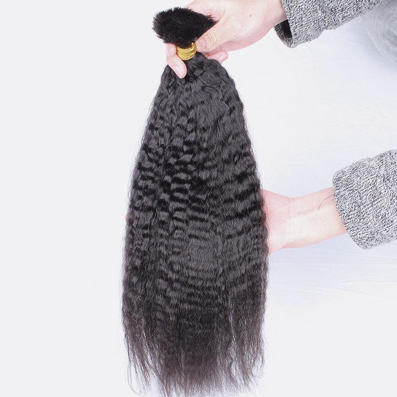 Kinky Straight Human Hair Extensions in Bulk For Cheap Unprocessed Indian Corase Yaki Human Hair Bulk No Weft 3 Bundles
