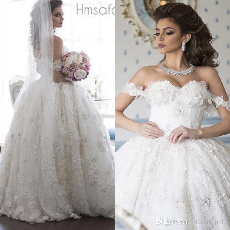 Plus Size Wedding Dresses Ball Gown Lace Applique Arab Wedding Dress ...