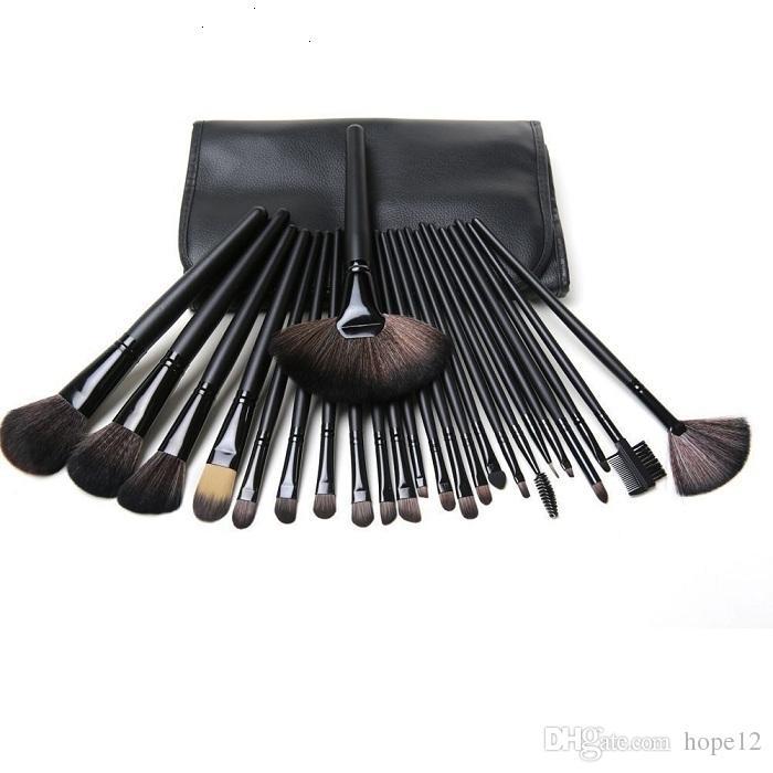 Frete Grátis New Makeup Brushes M banda 24 Peças Conjuntos de Escova Com Bolsa De Couro em estoque