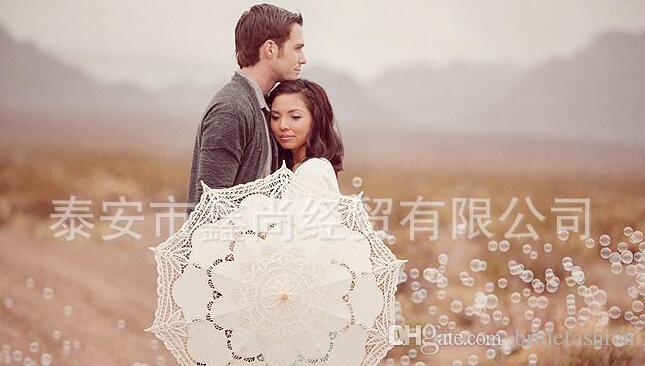 Ivory White Bride Bridesmaid Lace Umbrella Handmade cotton lace vintage wooden handle surface radius 18 inch Umbrella length 26 inch