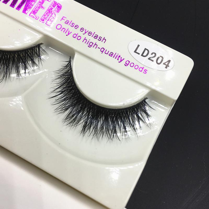 False Eyelashes Handmade Naturals Long Thick Mink Fur Eyelash Mink Hair Fake Eye Lash Extensions Black Strip Lashes High Quality Goods LD204