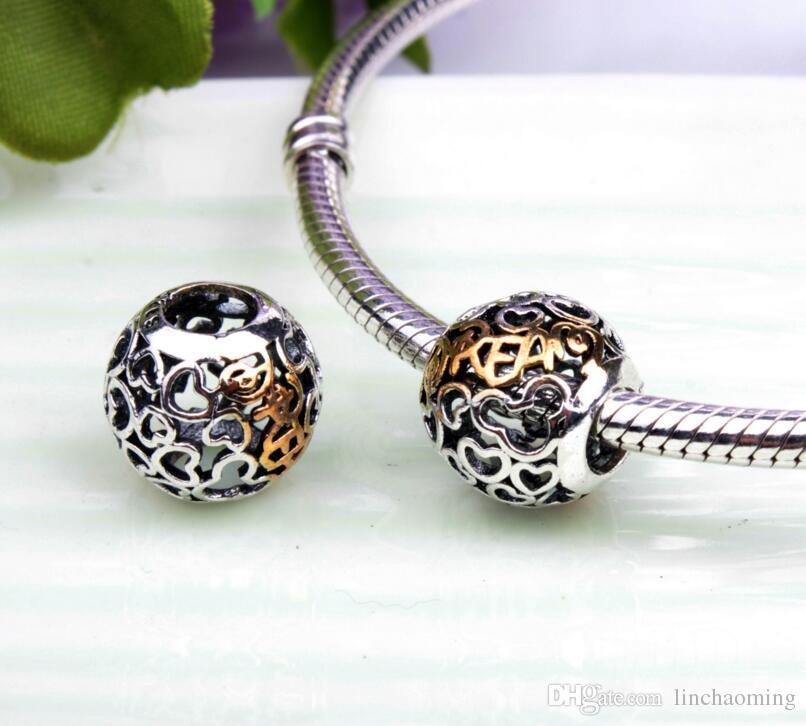 HYWo Brands Disny Coeur Perles De Rêve Convient Pandora Charms Diy Bracelet Perles Argent 925 Sterling 14K Véritable Bijoux En Or